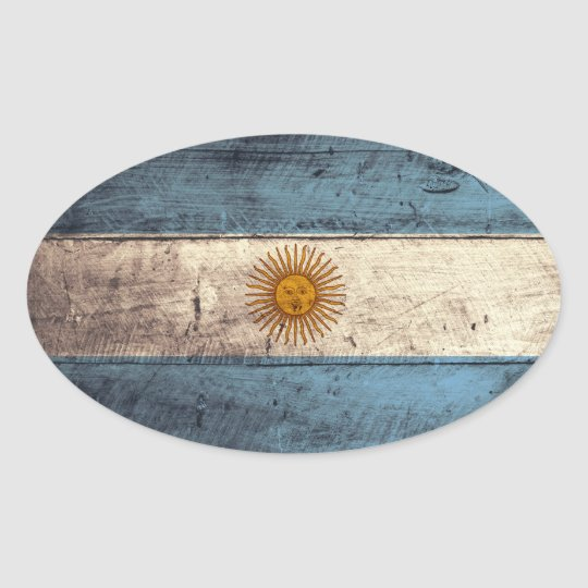 Old Wooden Argentina Flag Oval Sticker