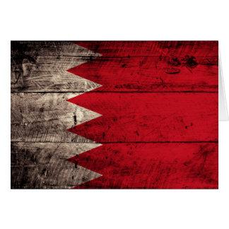 Old Wooden Bahrain Flag Card