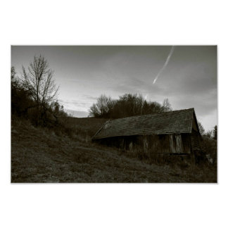 Old Wooden Barn in the Polish mountains Poster
