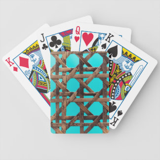 Old wooden basketwork bicycle playing cards