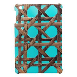 Old wooden basketwork case for the iPad mini