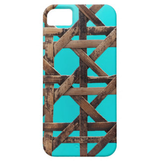 Old wooden basketwork case for the iPhone 5