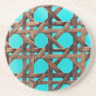 Old wooden basketwork coasters