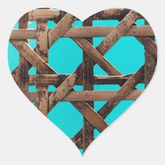 Old wooden basketwork heart sticker