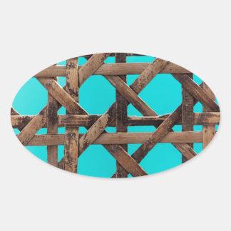Old wooden basketwork oval sticker