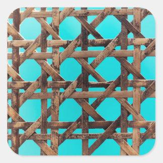 Old wooden basketwork square sticker
