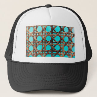 Old wooden basketwork trucker hat