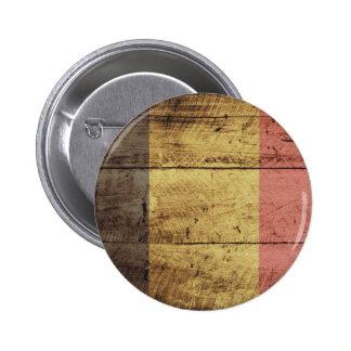 Old Wooden Belgium Flag 2 Inch Round Button