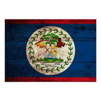 Old Wooden Belize Flag Poster