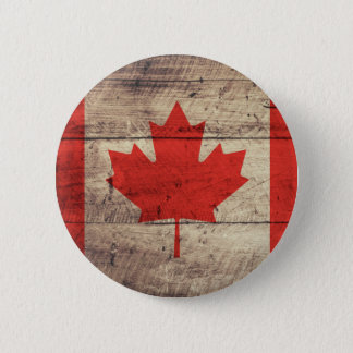 Old Wooden Canadian Flag 2 Inch Round Button