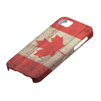 Old Wooden Canadian Flag Case For The iPhone 5
