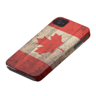 Old Wooden Canadian Flag iPhone 4 Covers