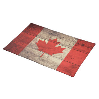 Old Wooden Canadian Flag Placemat
