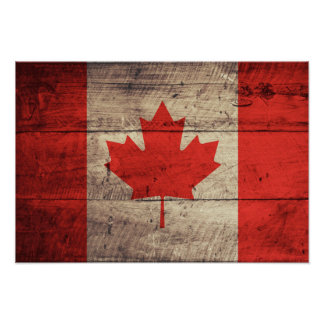 Old Wooden Canadian Flag Poster