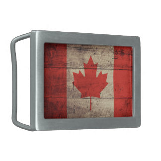 Old Wooden Canadian Flag Rectangular Belt Buckle