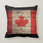 Old Wooden Canadian Flag Throw Pillow