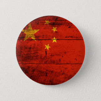 Old Wooden China Flag 2 Inch Round Button