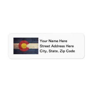 Old Wooden Colorado Flag Return Address Label