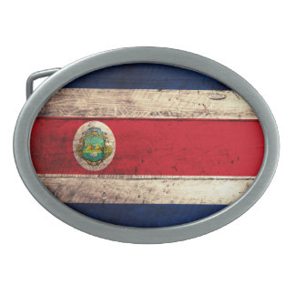 Old Wooden Costa Rican Flag Belt Buckle