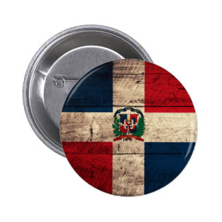 Old Wooden Dominican Republic Flag 2 Inch Round Button