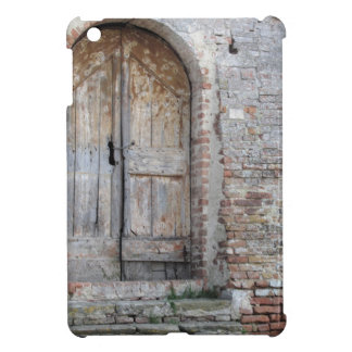 Old wooden door in old brick wall cover for the iPad mini