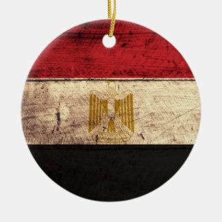 Old Wooden Egypt Flag Ceramic Ornament