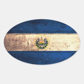 Old Wooden El Salvador Flag Oval Sticker