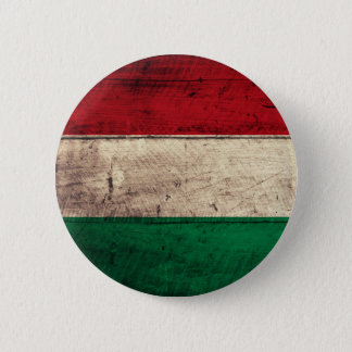 Old Wooden Hungary Flag 2 Inch Round Button