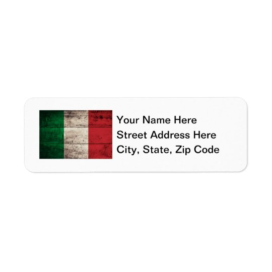 Old Wooden Italy Flag Return Address Label