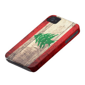 Old Wooden Labanon Flag Case-Mate iPhone 4 Case