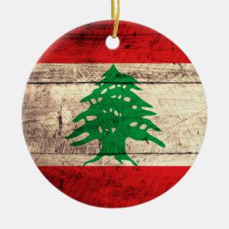 Old Wooden Labanon Flag Ceramic Ornament