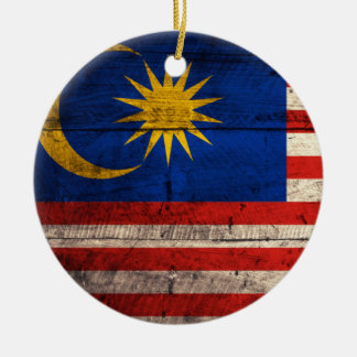 Old Wooden Malaysia Flag Ceramic Ornament