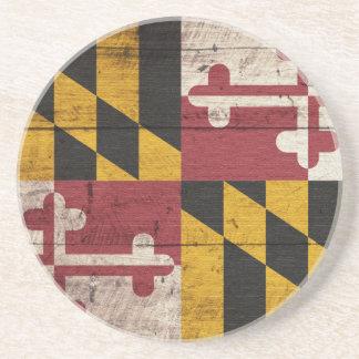 Old Wooden Maryland Flag Coaster