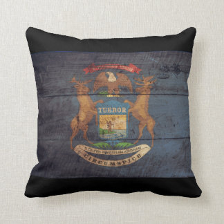 Old Wooden Michigan Flag; Throw Pillow