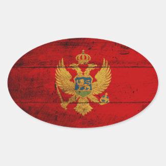 Old Wooden Montenegro Flag Oval Sticker