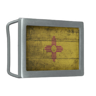 Old Wooden New Mexico Flag; Belt Buckle