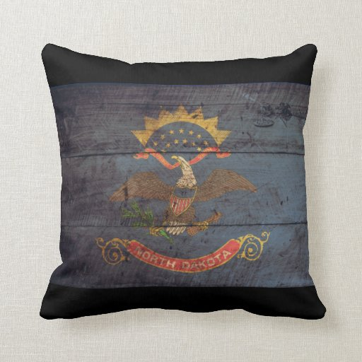 Old Wooden North Dakota Flag; Pillows