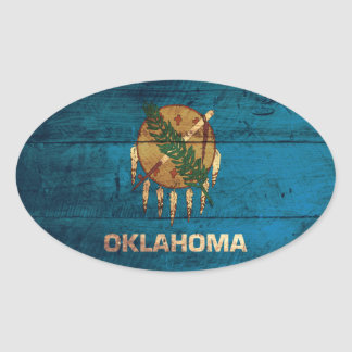 Old Wooden Oklahoma Flag; Oval Sticker
