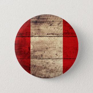 Old Wooden Peru Flag 2 Inch Round Button