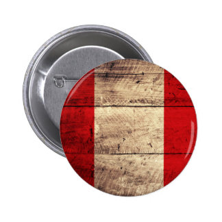 Old Wooden Peru Flag 2 Inch Round Button