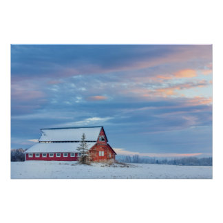 Old Wooden Red Barn In The Lower Valley Poster