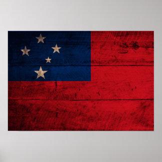 Old Wooden Samoa Flag Poster