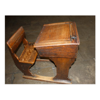 Old  Wooden School Desk and Chair Post Card