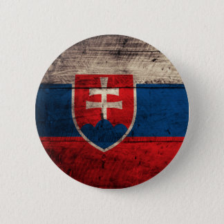 Old Wooden Slovakia Flag 2 Inch Round Button