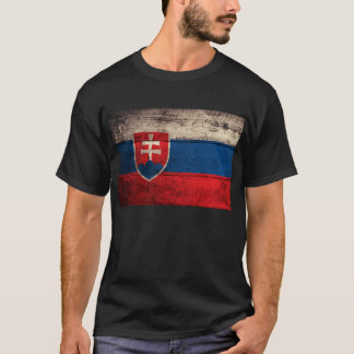 Old Wooden Slovakia Flag; T-Shirt
