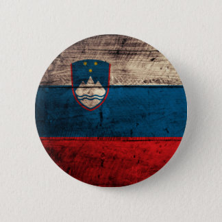 Old Wooden Slovenia Flag 2 Inch Round Button