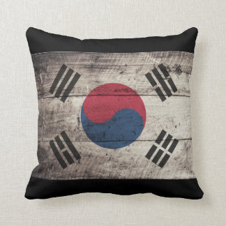 Old Wooden South Korea Flag Throw Pillow