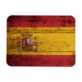 Old Wooden Spain Flag Magnet