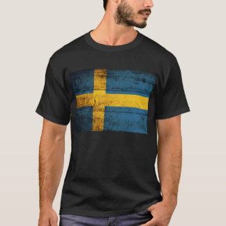 Old Wooden Sweden Flag; T-Shirt