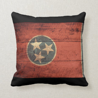 Old Wooden Tennessee Flag Throw Pillow